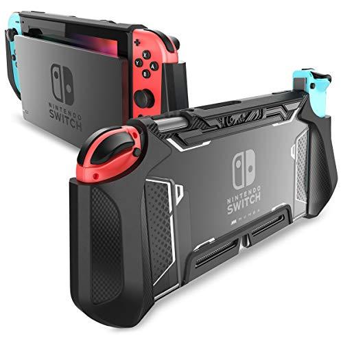 Mumba Funda acoplable para Nintendo Switch, Case Funda protectora TPU Grip funda de agarre compatible con la consola de Nintendo Switch y Controlador Joy-Con (Negro)