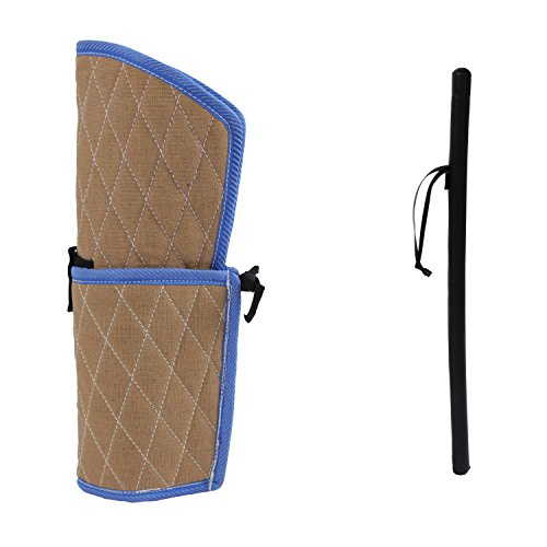 Sweet Devil Dog Training Bite Sleeve Arm Protection+PU Leather Whip Agitation Stick Kit for Young Dogs Puppy Work Dogs