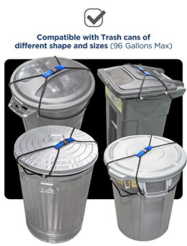 Encased Extra Large Trash Can Lock for Animals/Raccoons, Bungee Cord Heavy Duty Extra Large Outdoor Garbage Lid Lock (Fits 50-96 Gallon Trash Can)