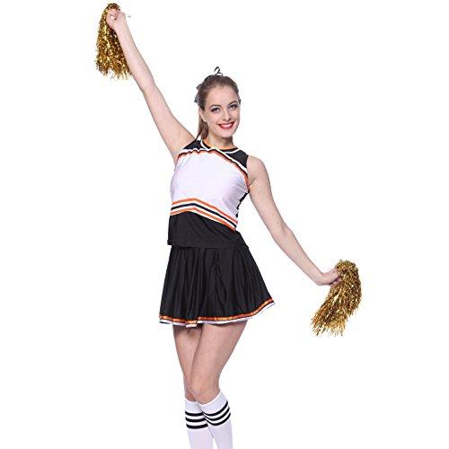 maboobie Debardeur Jupe Plissee Bi-Ton Contrast Deguisement Cheerleader Uniforme avec 2 Pompoms Noir et Blanc S(30-32)