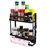 PENGKE Magnetic Spice Rack Organizer 2 Tier Refrigerator Storage Shelf with Paper Towel Holder and Removable Hooks,Easy to Install on the Side of Refrigerator,Strong Rustproof Magnetic Shelf,Black