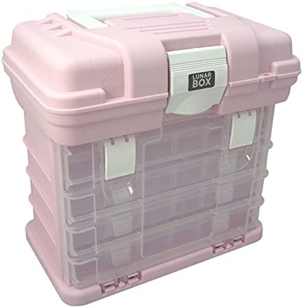 Lunar Box, Storage Carry Case With 5 compartmetns, 4 Adjustable Multi-Compartment Pull Out Drawer Boxes, Organiser Caddy for Arts, Crafts, Sewing and DIY (Pink)