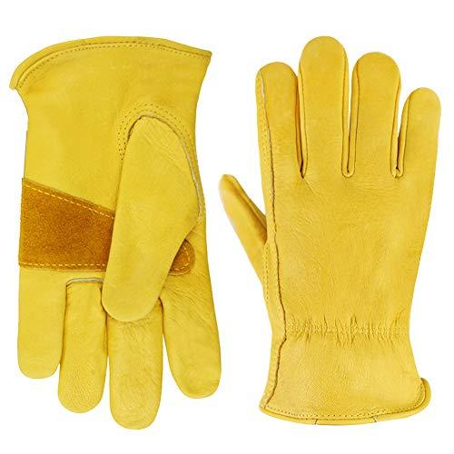 1 par de guantes protectores de jardín para mujer y hombre, guantes de trabajo de cuero, para bricolaje, conductores, jardinería, almacenamiento, construcción, conducción, multifunción (Talla grande)