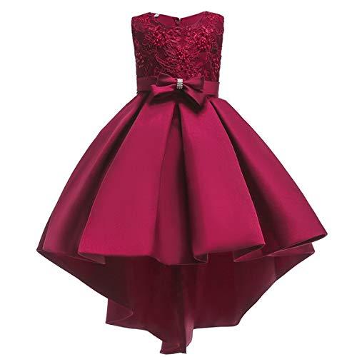 IBTOM CASTLE Vestito da Bambina Elegante Floreale Bowknot Festa di Carnevale Principessa Abiti Damigella d'Onore Sposa Compleanno Bambino Fiore Ragazza Nozze Gonna Comunione Costume Borgogna 7-8 Anni