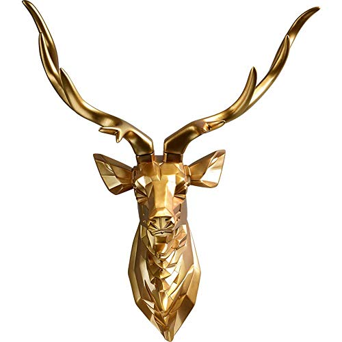 Decoración de la pared Escultura de Pared Animal, Ciervos 3D de Pared Decorativos mamífero IKEA Discoteca baño Wall Escultura estética Decorativa de Pared Animales película Estatua (Size : 37X55cm)