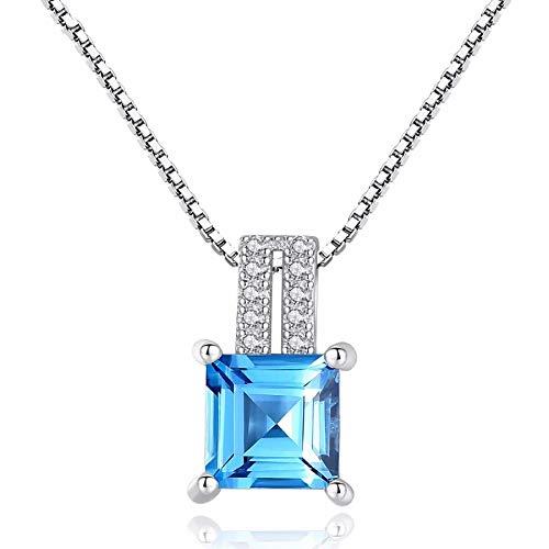 Collar con colgante de topacio azul cielo genuino de corte cojín de plata de ley 925 con cadena de caja de 40 + 5 cm joyería de plata fina para mujer