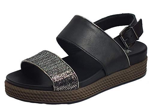 IGI&CO 5173300 - Sandalias para mujer de piel con cuña mediana Negro Size: 41 EU