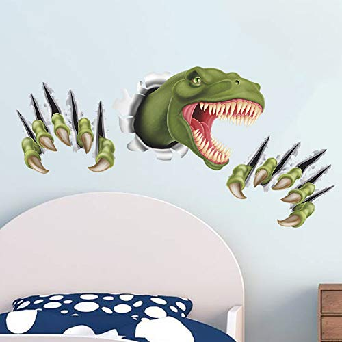Dinosaur Through Wall Stickers for Kids Room Bedroom Decor Animal 3D Effect brocken Wall Home Decal Poster Children Toy