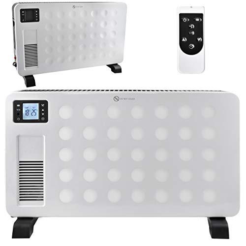 MT MALATEC Elektro-Heizkörper Konvektions-Heizgerät mit Fernbedienung LCD-Display Übertemperaturschutz 2300Watt Schwarz/Weiß 8962, Farbe:Weiß
