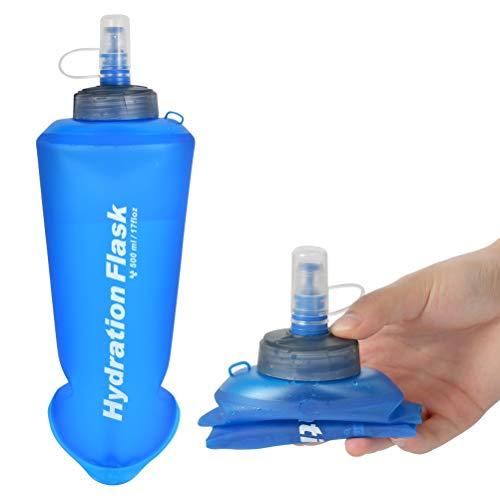Botellas de Agua Blanda Trail Botella Flexible 500ml, Botella Plegable TPU, Botella Suave Plegable Botella de Agua sin BPA, Botella de Frasco Suave Jaula para Trekking Trail Running