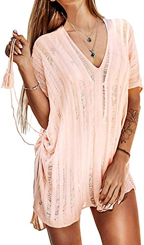 HARHAY Women's Summer Swimsuit Bikini Beach Swimwear Cover up B-Pink