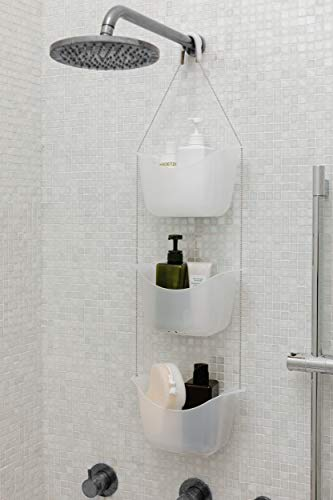 Umbra 022360-670 Bask, White Hanging Shower Caddy, Bathroom Storage and Organizer for Shampoo, Conditioner, Bath Supplies and Accessories, 11-1/4