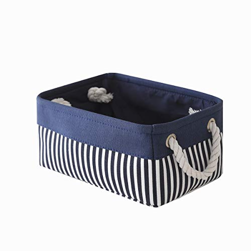 TcaFmac Small Fabric Nautical Storage Basket, Collapsible Canvas Toy Storage Organizing Basket with Strong Cotton Rope Handles for Shelves,Empty Gifts,Baby Blue Basket 12(L) x 8(W) x 5(H) inches