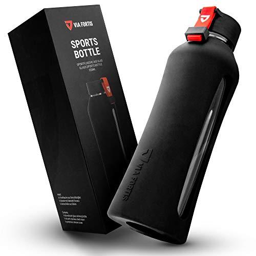 VIA FORTIS® Glasflasche mit hochwertiger Silikonhülle - Trinkflasche für Sport, Fitness, Gym, Fahrrad & Büro - Bruchsicher & BPA-frei - 550ml (01 - Onyx Black - Schwarz)