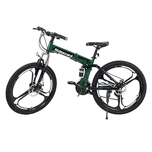 MOME 26 pulgadas 21 velocidad plegable bicicleta montaña bicicleta de montaña freno disco adulto unisex fuerte y ligero marco de acero al carbono, duradero