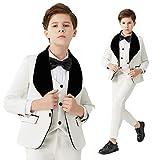 Vestido de Fiesta de Bodas para niños Blazer Chaleco Pantalones 3 Piezas Traje de Baile de graduación para niños White 14T