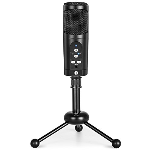 1byone USB Microphone with Tripod, Mute Button, LED Indicator, Audio Out Volume Control, Compatible with Windows, MacOS and Linux