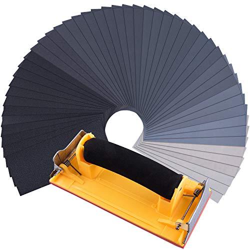 SIQUK 48 Stück Schleifpapier Nass und Trocken 120 zu 7000 Grit Sandpapier Sortiment mit Schleifblockschleifer 9 x 3,6 Zoll Schleifpapier Fein für Automobil Schleifen, Holzmöbellackierung, Veredelung