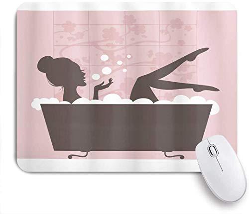 Mausmatte Mauspad schöne Frau in Badewanne Spa Entspannungsbehandlung Konzept Vintage-Stil angepasste Kunst Mousepad rutschfeste Gummibasis für Computer Laptop Schreibtisch Zubehör