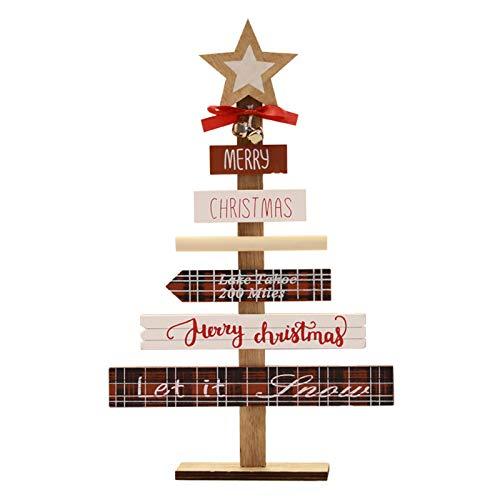 Creativo País Decoración De La Mesa Con Carta Y Campanas Y Estrella Para Decoración De Navidad Decoración De Escritorio De Navidad Rústico,Madera Árbol De Navidad Decoración De Mes-Rojo 22.5*36.5cm