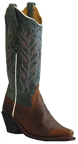 """Old West Blue Womens Oily Leather 12"""" Snip Toe Brown/Blue Cowboy Boots 6.5"""
