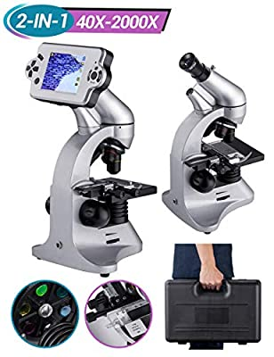 LCD Digital Microscope 2000X Biological Microscope with Camera Screen Slides Set for Kids Students Adults School Laboratory Home Science Education