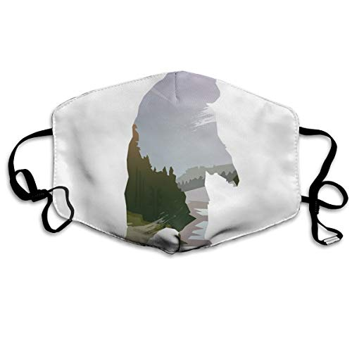 ComfortableWindproofFaceCover,Wild Animals of Canada Survival In The Wild Theme Hunting Camping Trip Outdoors,Printed Facial Decorations for Men and Women