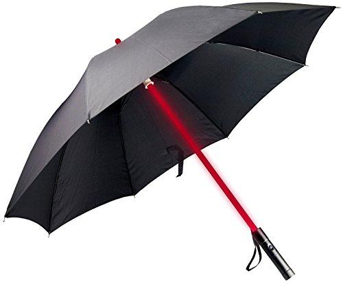 LED Regenschirm im Laserschwert Design mit 7 Leuchtfarben - Schwarz - Langschirm Griff Inkl. Taschenlampe - Grinscard
