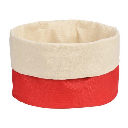 Premier Housewares 1901095 Panier à Pain en Polyester/Coton Crème/Rouge