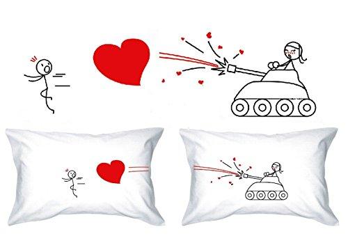 Human Touch - Gran Amor - De El y de Ellas - Fundas de Almohada romántica Peculiar, Regalo de Boda, Regalo de San Valentín, o Simplemente para elevar una Sonrisa.