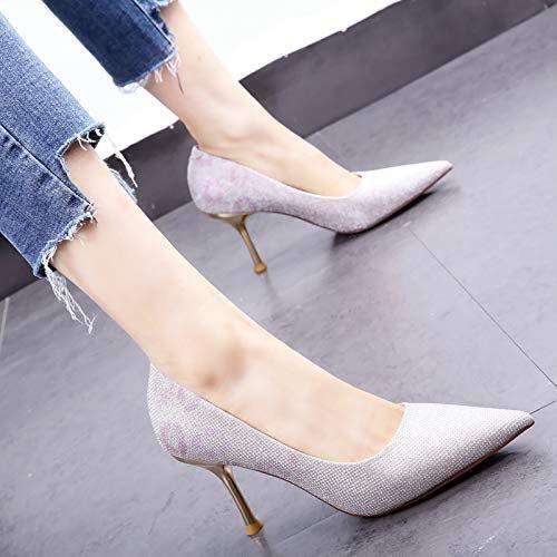 HOESCZS 2019 Nouveau Printemps Chaussures Femme Fille tempérament Talons Hauts Gradient Paillettes Stiletto a souligné Chaussures Simples