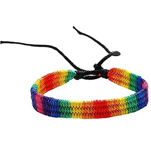 Pulsera de Arco Iris Pulsera Trenzada de Orgullo a Mano Ajustable para Gays y Lesbianas Rainbow Pride Pulsera Regalos