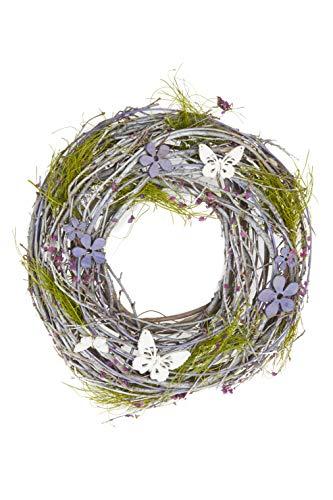 HEITMANN DECO Reisigkranz mit Schmetterlingen - Natur - Lila - Grün - Türkranz - Wandkranz - zum Aufhängen oder Hinlegen
