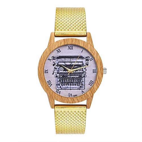 Fashionable Charming Quartz Watch Ladies Casual Big Round Wrist Watch Jewelry Accessories DecorationT390-F,Colour:Rose Gold Bracelets Earrings Rings Necklaces (Color : Gold)
