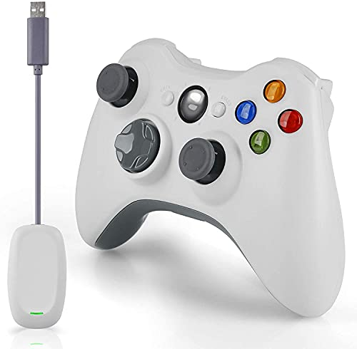 Mando inalámbrico para Xbox 360, 2,4 GHz, doble vibración, mando a distancia para Xbox 360, PC, Windows 7, 8, 10, con adaptador receptor y sin toma de audio, color blanco (no OEM)