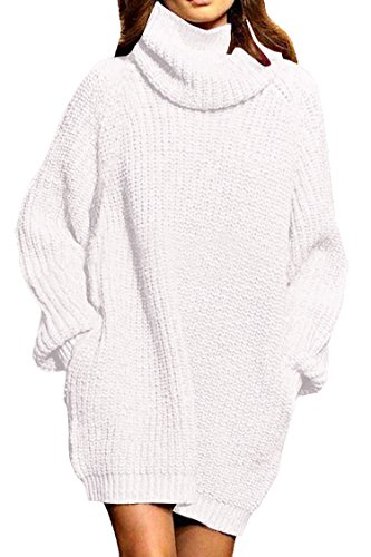 Pink Queen Women's Loose Turtleneck Oversize Long Pullover Sweater Dress White XL