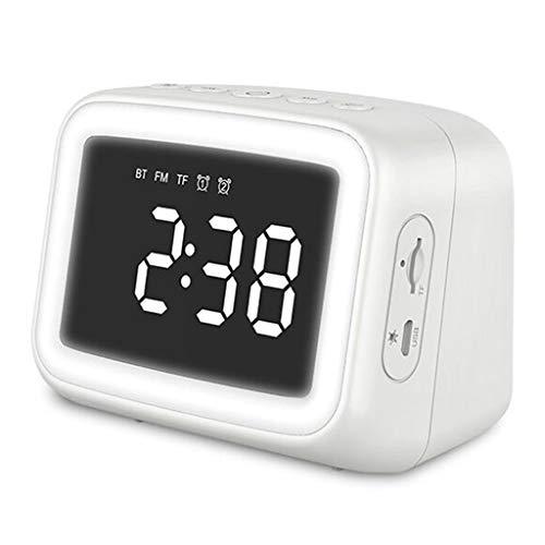 SCDZS Reloj de Espejo Doble Despertador Reloj Noche Luz de Noche Tarjeta Bluetooth Altavoz de Regalo Tarjeta de Altavoz Reloj Pequeño Altavoz
