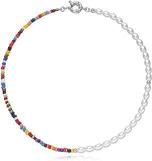 JAWSEU Pärlhalsband, kvinnor bohemiska pärlor kraghalsband, boho flerfärgade frön pärlkedja smycken presenter till mamma f...