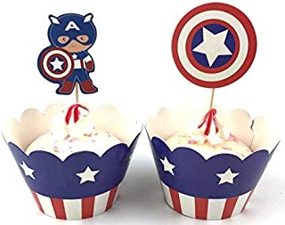 Avengers America Captain Cupcake Toppers and Wrappers - Great Party Cupcake Decorations - 24 pack