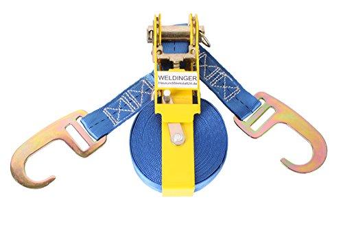 WELDINGER Zurrgurt Größe M 5 m x 25 mm Gurtmagazin Ratsche (400/800 kg 2 Haken Spanngurt)