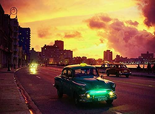Rompecabezas 1000 Piezas Adultos Rompecabezas Coche Clásico Puerto de La Habana Vieja Cuba 26x38cm
