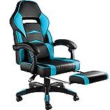 TecTake 800769 Chaise Gaming Confortable, Fauteuil de Bureau Ergonomique, Dossier Réglable, avec Repose-Pieds - Plusieurs Couleurs - (Noir-Bleu Azur   No. 403462)