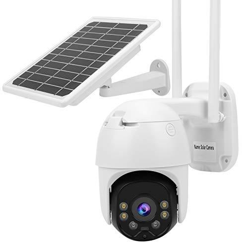 Asixxsix CCTV para Exteriores, cámara Solar Resistente al Agua IP67 con detección de Movimiento Humano, para sitios de construcción Entradas a Patios(WiFi Version)