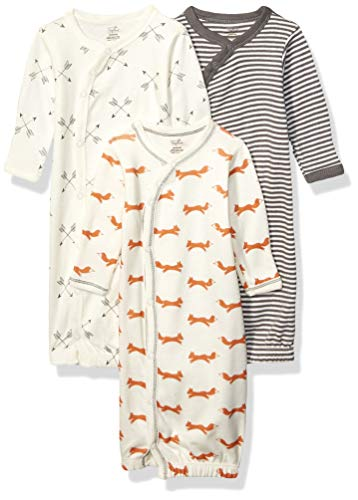 Touched by Nature Baby Organic Cotton Kimono Gowns, Fox, 0-6 Months