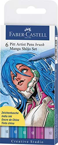 Faber-Castell 167130 - Pack de 6 rotuladores para dibujo Manga Pitt Shojo Set