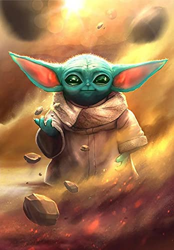 Sekimo DIY 5D Diamond Painting Kits for Adults Kids, Star Wars Baby Yoda Diamond Colorful Painting by Round Diamonds, Diamond Art for Home Wall Decoration Gift (16x20 inch)