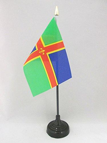 AZ FLAG TISCHFLAGGE GRAFSCHAFT Lincolnshire 15x10cm goldene splitze - Lincolnshire TISCHFAHNE 10 x 15 cm - flaggen