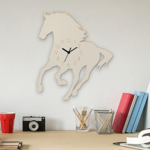 Wanduhr Mustang-Weiß, Pferd aus Holz, Kinderuhr, Uhr für Kinderzimmer