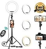 Luz de Anillo para Selfies, StillCool Luz de Anillo de Belleza LED de 160cm Mejorada porl, 3 Modos de Color, 10 Niveles de Brillo, 2 Soportes para teléfono móvil,Youtube Fotografía en Tiempo Real