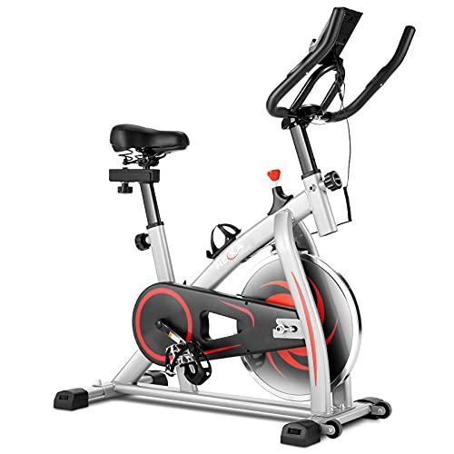 HEKA Bicicleta estática de ciclismo para interiores, resistencia ajustable, conducción silenciosa, gimnasio en casa, bicicleta de ciclismo con monitor LCD, asiento cómodo y aplicación (Gris, con APP)